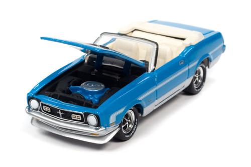 1972 Ford Mustang Convertible, Grabber Blue - Johnny Lightning JLCG024/48B - 1/64 scale Diecast Model Toy Car