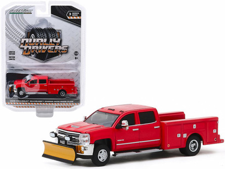 2018 Chevy Silverado 3500 Dually Service Bed with Snow Plow, Red - Greenlight 46030A/48 - 1/64 scale Diecast Model Toy Car