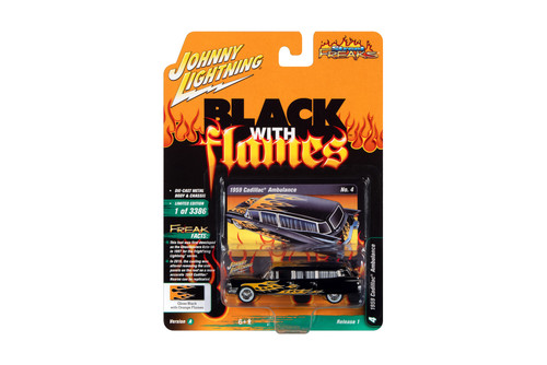 1959 Cadillac Ambulance, Gloss Black with Orange Flames - Johnny Lightning JLSF019/48A - 1/64 scale Diecast Model Toy Car