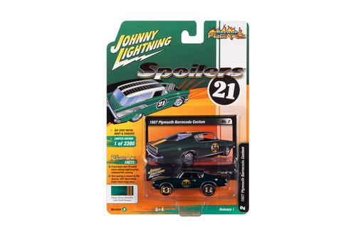 1967 Plymouth Barracuda Custom #56, Deep Metallic Green with Gold Wheels - Johnny Lightning JLSF019/48A - 1/64 scale Diecast Model Toy Car