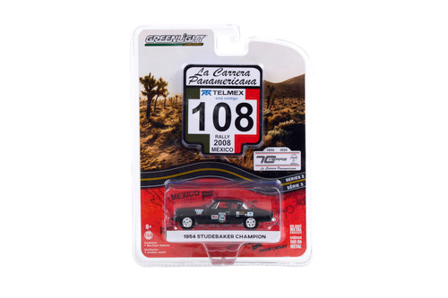 """1954 Studebaker Champion #108 """"GRW Racing Wear"""" (Rally Mexico 2008), Black - Greenlight 13280/48 - 1/64 scale Diecast Model Toy Car"""