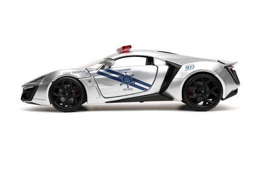 "Lykan Hypersport Police ""Highway Patrol"", Silver and Blue - Jada Toys 32927/4 - 1/24 scale Diecast Model Toy Car"