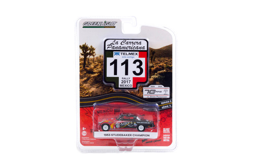 """1953 Studebaker Champion #113 """"MRCI"""" (Rally Mexico 2017), Red and Black - Greenlight 13280/48 - 1/64 scale Diecast Model Toy Car"""