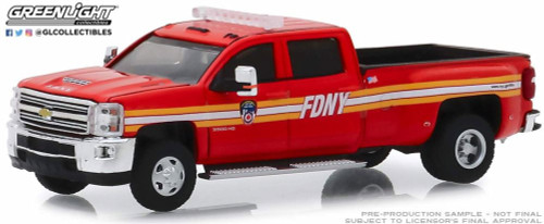 2018 Chevy Silverado 3500 Dually, The Offical Fire Department City of New York - Greenlight 46020 - 1/64 scale Diecast Model Toy Car