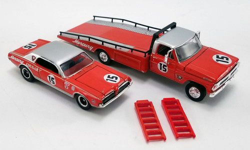1967 Mercury Cougarand Parnelli Jones Ford F-350 Ramp Truck with #15, Red and Silver - Greenlight 51343 - 1/64 scale Diecast Model Toy Car