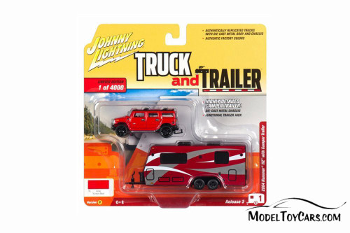 2004 Hummer H2 with Camper Trailer, Red - Johnny Lightning JLBT008/36B - 1/64 scale Diecast Model Toy Car