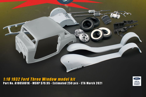 1932 Ford 3-Window Build Your Own Model Kit, Light Gray - Acme A1805001K - 1/18 scale Diecast Model Toy Car
