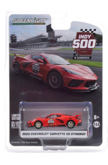 Official Pace Car - 104th Running of the Indianapolis 500 2020 Chevy Corvette C8 Stingray, Red - Greenlight 30227/48 - 1/64 scale Diecast Model Toy Car