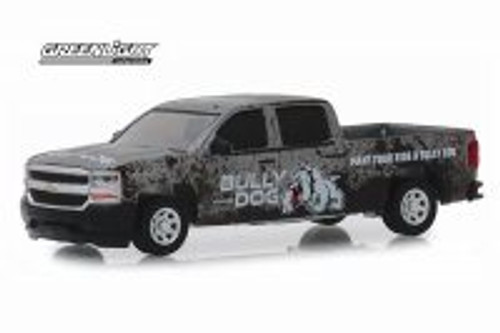 2018 Chevy Silverado Bully Dog Pickup Truck, Dark Gray - Greenlight 30084/48 - 1/64 scale Diecast Model Toy Car