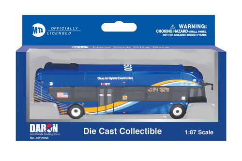 MTA New Flyer Xcelsior Transit Electric Hybrid Bus, Blue - Daron NY2050 - 1/87 scale Diecast Model Toy Bus
