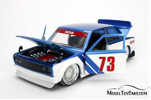 1973 Datsun 510 Widebody #73, Blue w/ White - Jada 99094WA1 - 1/24 Scale Diecast Model Toy Car