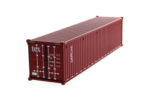 """40' Dry Goods Sea Shipping Container """"TEX"""", Burgundy - Diecast Masters 91027A - 1/50 scale Plastic Replica"""