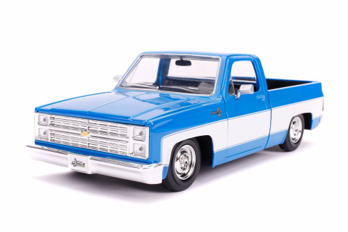 1985 Chevy C10 Pickup Stock, Glossy Blue and White - Jada 31606 - 1/24 Scale Diecast Model Toy Car