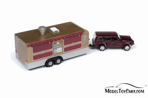 1998 Jeep Cherokee with Food Truck, Claret Red Metallic - Round 2 JLTG001/36A - 1/64 scale Diecast Model Toy Car