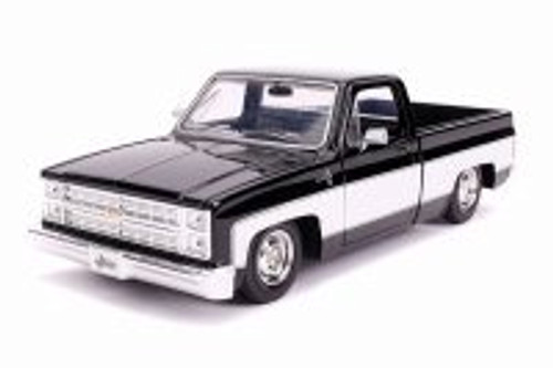 1985 Chevy C10 Pickup Stock, Glossy Black and White - Jada 31605 - 1/24 Scale Diecast Model Toy Car