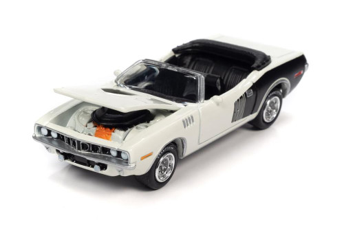 1971 Plymouth Barracuda Convertible, Snow White - Johnny Lightning JLSP153/24A - 1/64 scale Diecast Model Toy Car