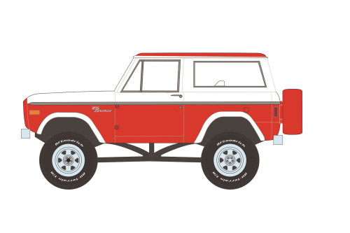 1977 Ford Bronco Custom (Lot #847), Red and White - Greenlight 37230D/48 - 1/64 scale Diecast Model Toy Car