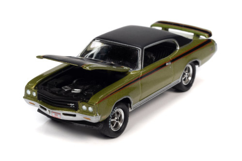 1971 Buick GSX Hardtop, Lime Mist Green and Black - Johnny Lightning JLSP151/24B - 1/64 scale Diecast Model Toy Car