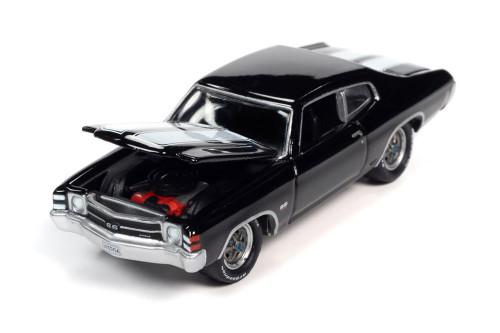 1971 Chevy Chevelle SS 454 Hardtop, Black - Johnny Lightning JLSP154/24B - 1/64 scale Diecast Model Toy Car