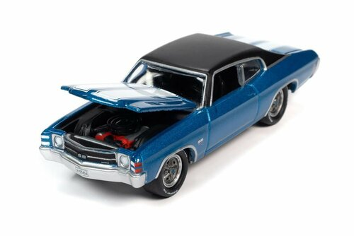 1971 Chevy Chevelle SS 454 Hardtop, Mulsanne Blue - Johnny Lightning JLSP154/24A - 1/64 scale Diecast Model Toy Car