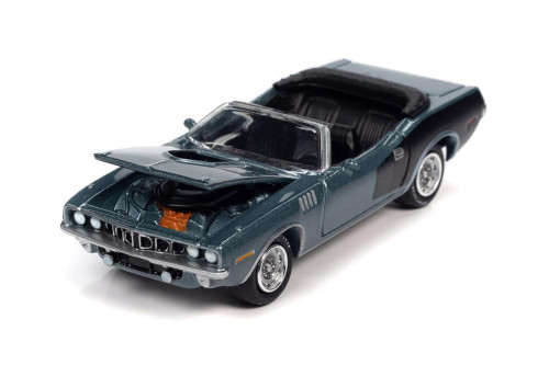 1971 Plymouth Barracuda Convertible, Winchester Gray - Johnny Lightning JLSP153/24B - 1/64 scale Diecast Model Toy Car