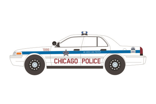 Chicago Police Department 2008 Ford Crown Victoria Police Interceptor, White - Greenlight 85533/12 - 1/24 scale Diecast Model Toy Car