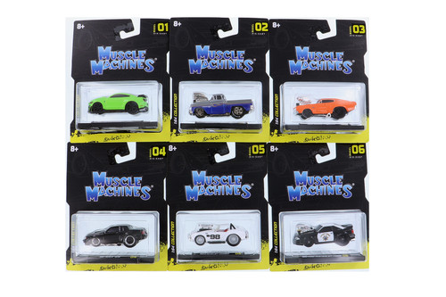 Maisto Muscle Machines Series 1 Diecast Car Set - Box of 6 assorted 1/64 Scale Diecast Model Cars