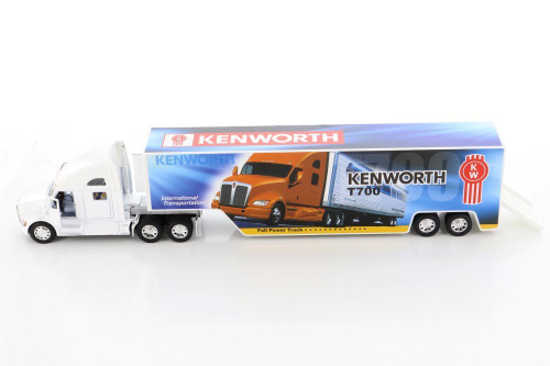 Kenworth T700 Container with Decal, White - Kinsmart KT1302D - 1/68 scale Diecast Model Toy Car