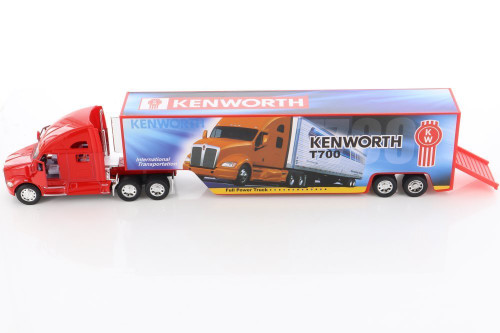 Kenworth T700 Container with Decal, Red - Kinsmart KT1302D - 1/68 scale Diecast Model Toy Car