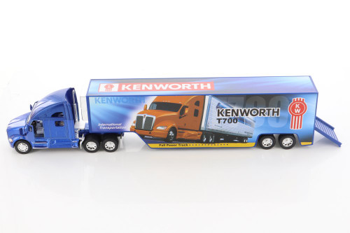 Kenworth T700 Container with Decal, Blue - Kinsmart KT1302D - 1/68 scale Diecast Model Toy Car