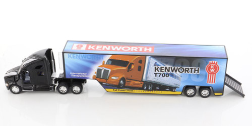 Kenworth T700 Container with Decal, Black - Kinsmart KT1302D - 1/68 scale Diecast Model Toy Car