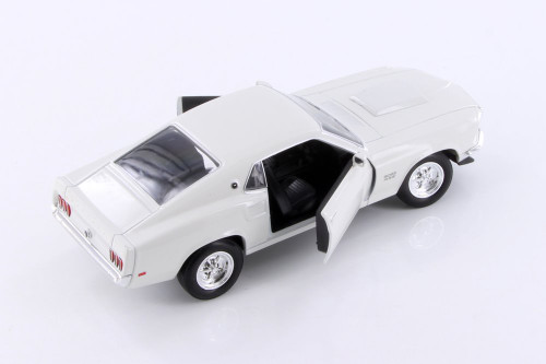 1969 Ford Mustang Boss 429, White - Welly 24067WWT - 1/24 scale Diecast Model Toy Car