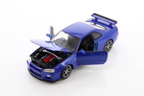 Nissan Skyline GT-R (R34), Blue - Welly 24108WBU - 1/24 scale Diecast Model Toy Car