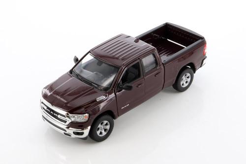 2019 Dodge Ram 1500 Pickup, Maroon Burgundy - Welly 24104WMR - 1/27 scale Diecast Model Toy Car