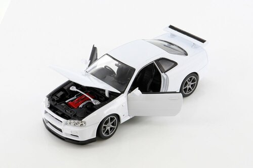 Nissan Skyline GT-R (R34), White - Welly 24108WWT - 1/24 scale Diecast Model Toy Car
