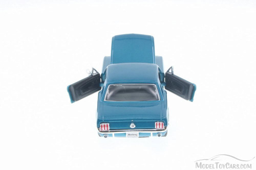 1964 Ford Mustang Coupe (1964.5), Metallic Turquoise Blue - Welly 22451/4D - 1/24 Scale Diecast Model Toy Car