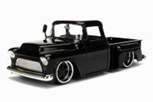 1955 Chevy Stepside Pickup Truck, Black - Jada 99041/4 - 1/24 scale Diecast Model Toy Car