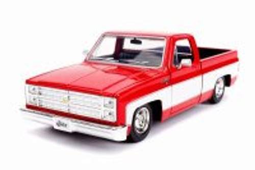 1985 Chevy C10 Pickup Stock, Glossy Red and White - Jada 31608 - 1/24 Scale Diecast Model Toy Car