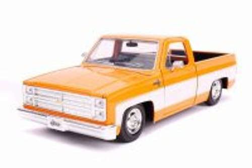1985 Chevy C10 Pickup Stock, Glossy Orange and White - Jada 31607 - 1/24 Scale Diecast Model Toy Car