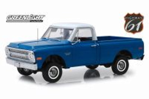 1970 Chevy C-10 Pickup Truck with Lift Kit, Dark Blue - Greenlight HWY18011 - 1/18 scale Diecast Model Toy Car