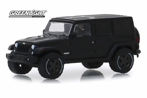 2017 Jeep Wrangler Unlimited, Black - Greenlight 28010/48 - 1/64 scale Diecast Model Toy Car