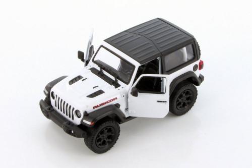 2018 Jeep Wrangler Rubicon Hard Top, White - Kinsmart 5412DK/WT - 1/34 scale Diecast Model Toy Car