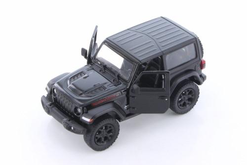 2018 Jeep Wrangler Rubicon Hard Top, Black - Kinsmart 5412DK/BK - 1/34 scale Diecast Model Toy Car