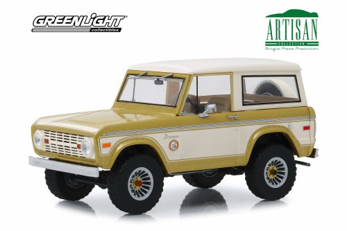 1976 Ford Bronco Colorado Gold Rush Bicentennial Special Edition, Gold and Cream - Greenlight 19071 - 1/18 scale Diecast Model Toy Car
