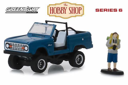 1967 Ford Bronco (Doors Removed) with Backpacker, Blue - Greenlight 97060B/48 - 1/64 Scale Diecast Model Toy Car