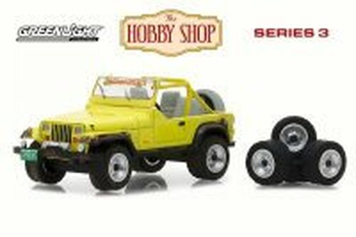 1991 Jeep Wrangler YJ w/ Wheel and Tire Set, Yellow - Greenlight 97030D/48 - 1/64 Scale Diecast Model Toy Car