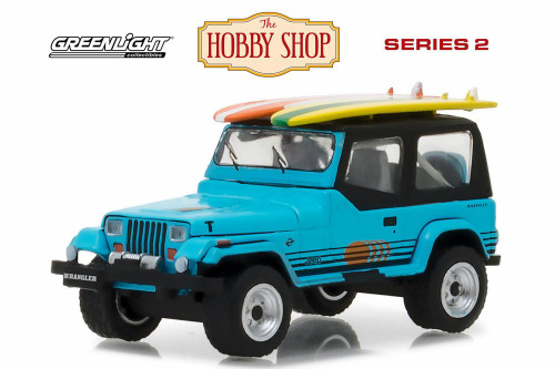 1987 Jeep Wrangler YJ, Blue - Greenlight 97020C/48 - 1/64 Scale Diecast Model Toy Car