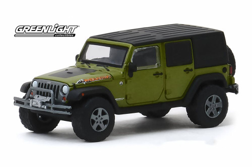 2010 Jeep Wrangler Unlimited Mountain Edition, Rescue Green Metallic - Greenlight 35150/48 - 1/64 scale Diecast Model Toy Car