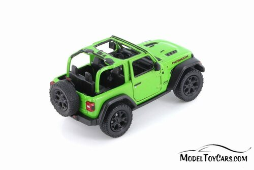 2018 Jeep Wrangler Rubion Open Top, Green - Kinsmart 5412DAB - 1/34 scale Diecast Model Toy Car