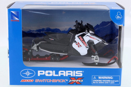 Polaris 800 Switchback Pro Snow Mobile, White w/ Black - New Ray 57783A - 1/16 Scale Vehicle Replica